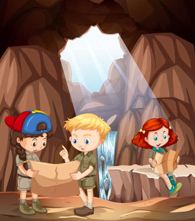 children exploring a cave illustration