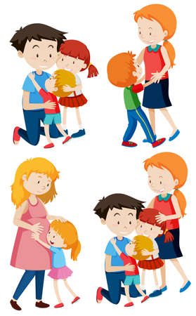Set of family scenes illustration