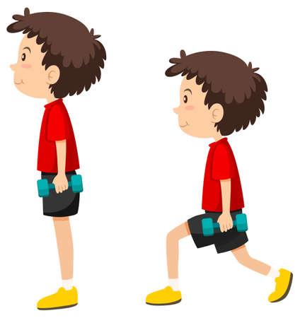 Boy doing lungeing exercise illustration