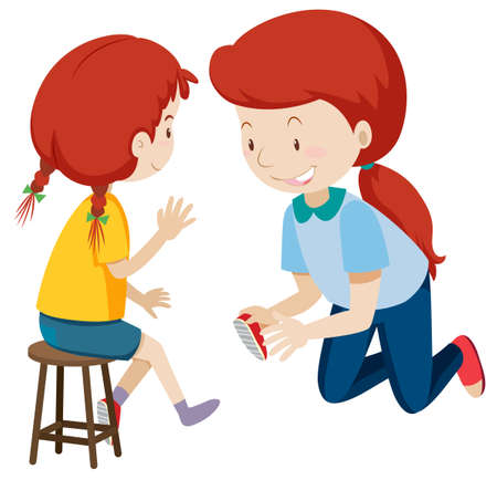 Mother helping child put on shoes illustration 写真素材 - 111934628