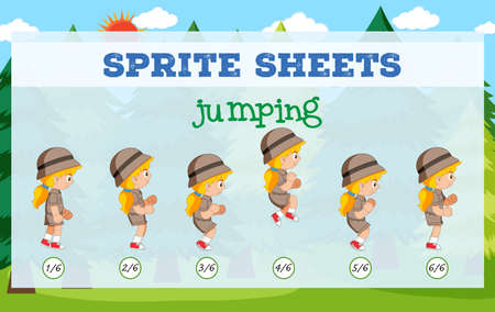 Sprite sheet girl jumping illustration