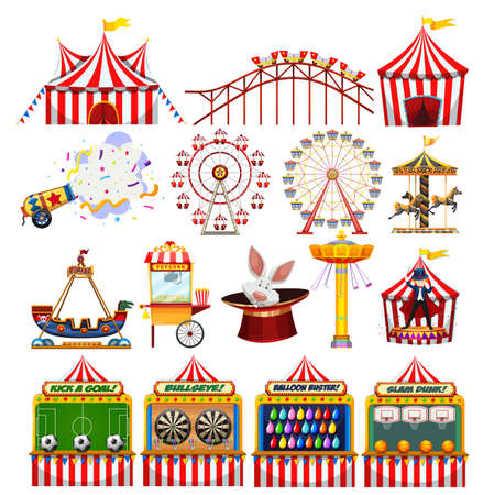 Set of carnival objects illustration