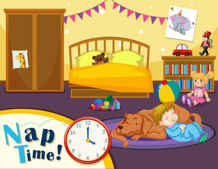 Illustrazione del momento del pisolino del bambino piccolo
