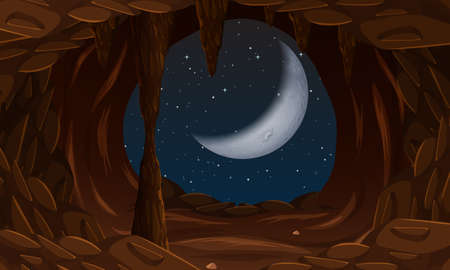 Cave entrance with cresent moon illustration