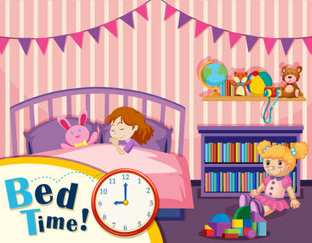 Young girl bed time illustration