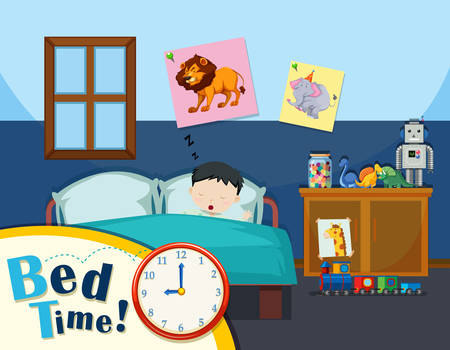 Young boy bed time illustration
