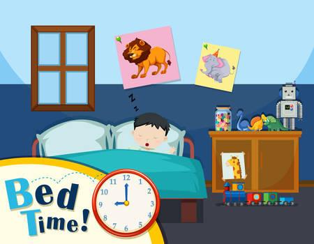 Illustrazione di tempo di letto del giovane ragazzo Vettoriali