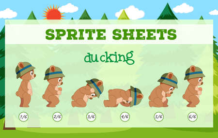 Sprite sheets bear ducking illustration Illustration