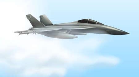 Airforce jet flying scene illustration