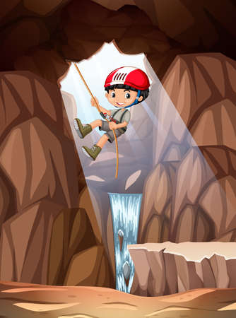 Boy abseiling into cave illustration