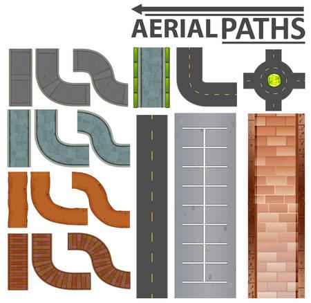 Set of aerial paths illustration Ilustracje wektorowe