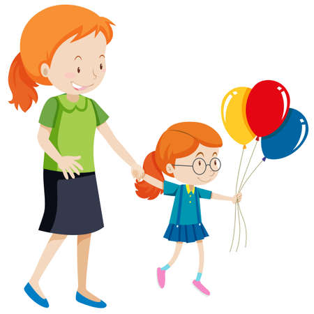 Mother and daughter holding balloons illustration Banque d'images - 111875440