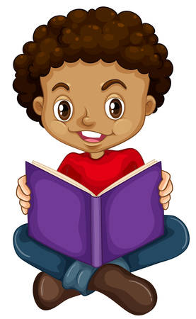 Young boy reading a book illustration