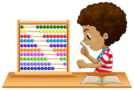 Un enfant africain apprenant l'illustration de l'abaque Vecteurs