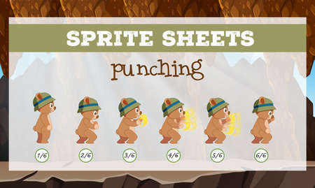 A sprite sheet punching game template illustration