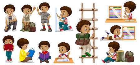 African boy in activities illustration