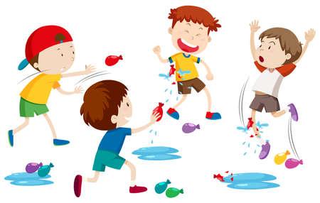 Children playing water balloon fight illustration Çizim