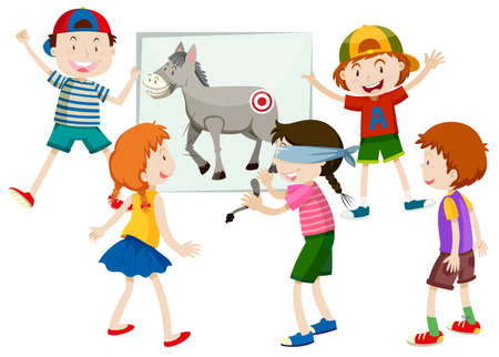 pin the tail on the donkey illustration