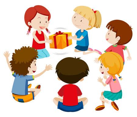 Kinder spielen gegenwärtige Spielillustration