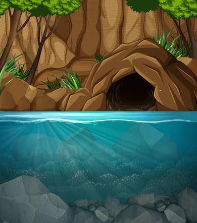 Underwater cave landscape scene illustration Ilustração