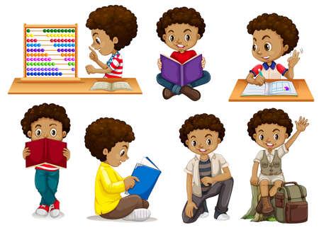 Set of tanned boy illustration