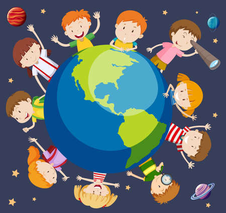 Children around the world concept illustration