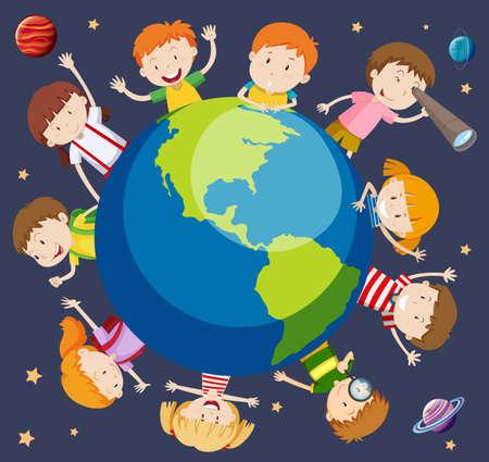 Ilustración de concepto de niños de todo el mundo