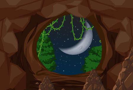 Ingang om de illustratie van de nachtscène te grotten