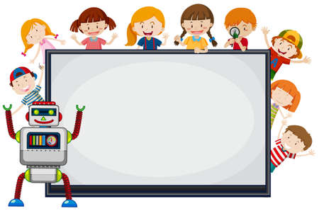 Children and robot around frame illustration
