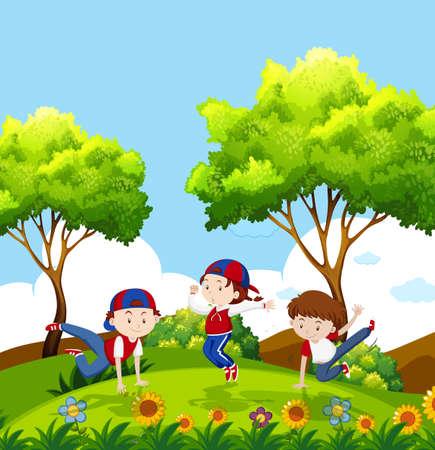 kids dancing in park illustration