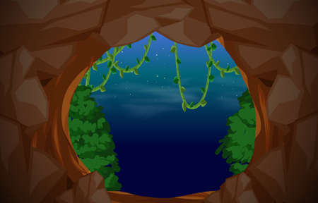Cave entrance scene background illustration
