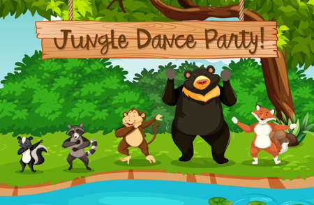 Animals and jungle dance party illustration Illustration