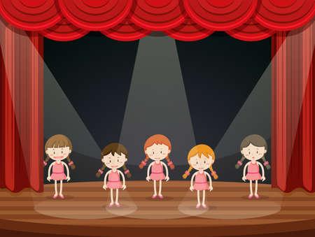 Girls perform ballet on stage illustration