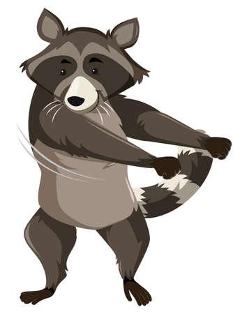 Un mapache haciendo ilustración de baile con hilo dental.