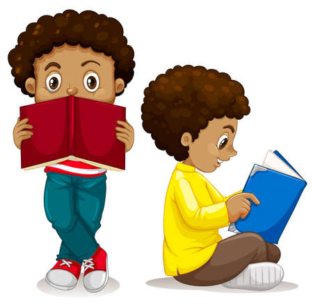 African boy reading book illustration Vettoriali