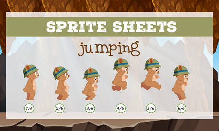 Sprite sheets jumping template illustration