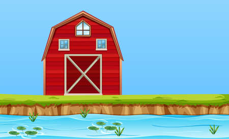 A rural barn house illustration