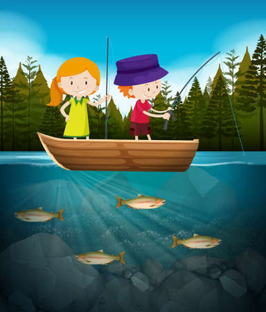 Boy and girl fishing in the lake illustration