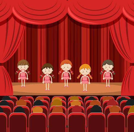 girls performing on stage illustration