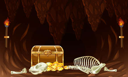 Treasure chest in underground cave illustration