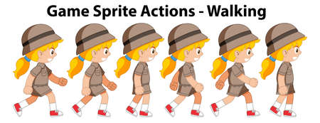 Game spirte actions girl walking illustration