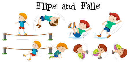 Flips and Falls boy on white background illustration Vectores