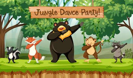 Illustration d'animaux de fête de danse de la jungle Vecteurs