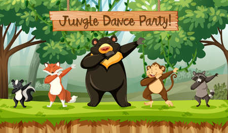 Jungle dance party animals illustration Vetores