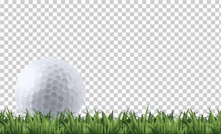 Golf ball on grass  illustration