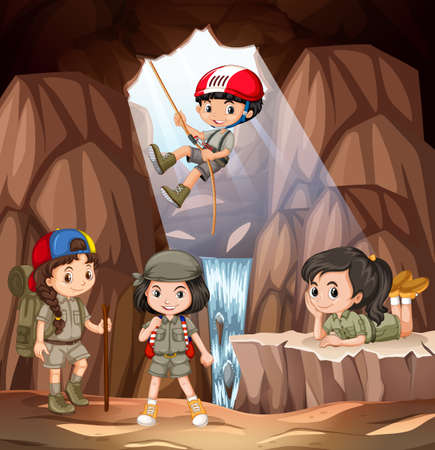 Boy and girl scout exploring the cave illustration