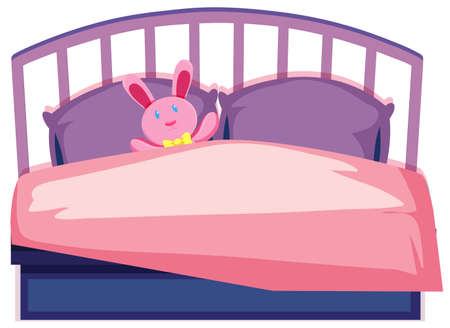 A cute children bed illustration