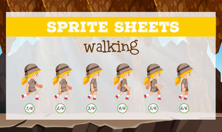 Sprite sheets walking template illustration