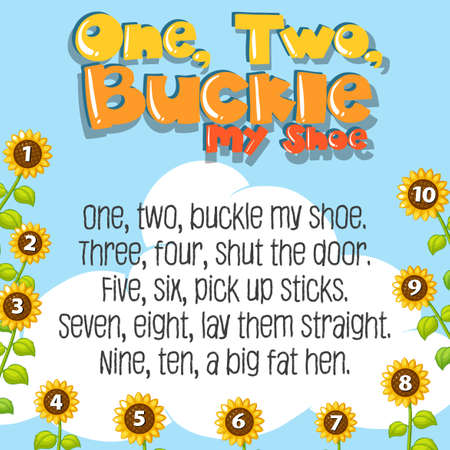 One two buckle my shoe song illustration Vettoriali