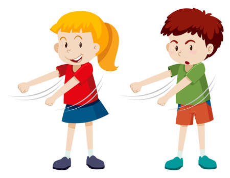 Boy and girl floss dancing illustration